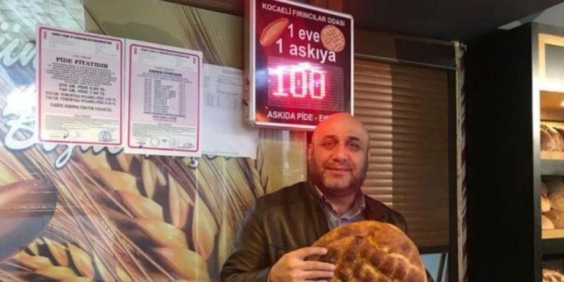 Fırıncılardan her gün askıya100 ekmek