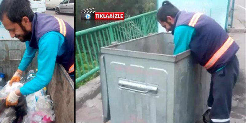 Elleriyle çöp toplayan işçi işten çıkarıldı