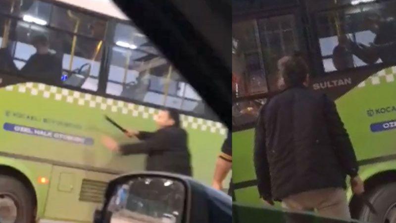 Trafikte tartıştığı otobüs şoförüne copla saldırdı