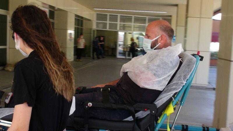 Katlanır forkliftten düşen şahıs yaralandı