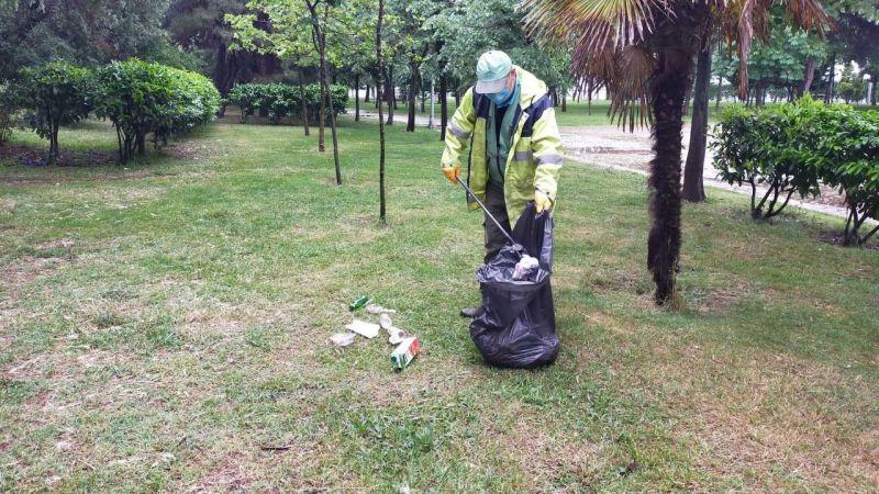 Mesire yerleri ve yeşil alanlarda temizlik çalışması