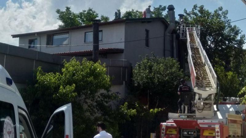 Restoranın baca kısmında çıkan yangın korkuttu