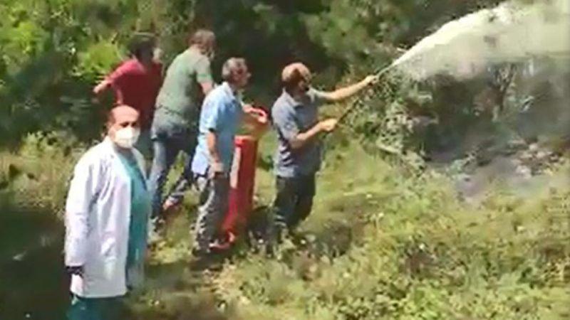 Orman yangınına ilk müdahale sağlık çalışanlarından