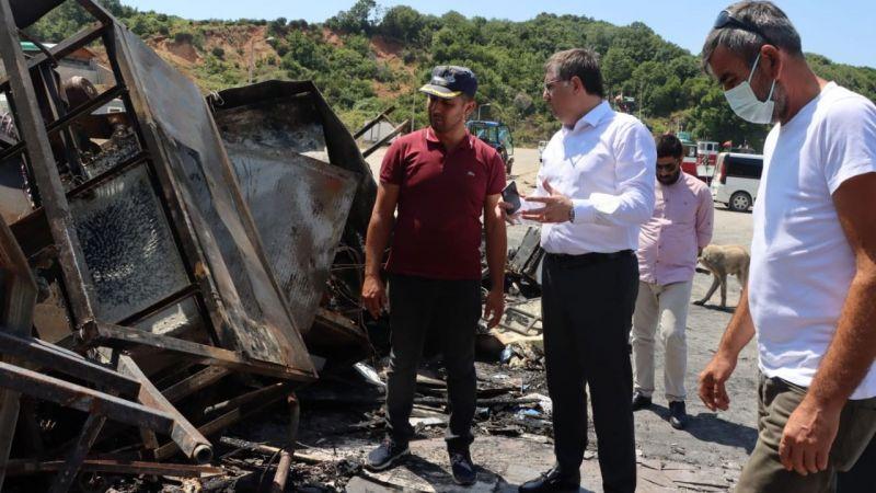 CHP İl Örgütü yangın mağduru balıkçıları ziyaret etti