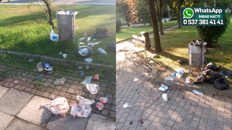 Etrafa yayılan çöpler kötü görünüm veriyor