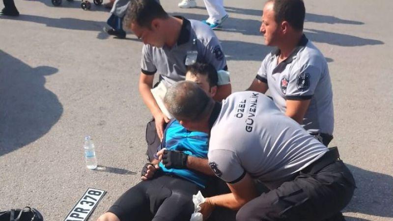 Otomobilin çarptığı bisikletliye ilk müdahale Büyükşehir personelinden