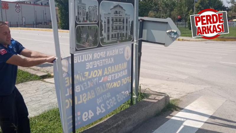 Belediyeden uygunsuz tabelaya müdahale