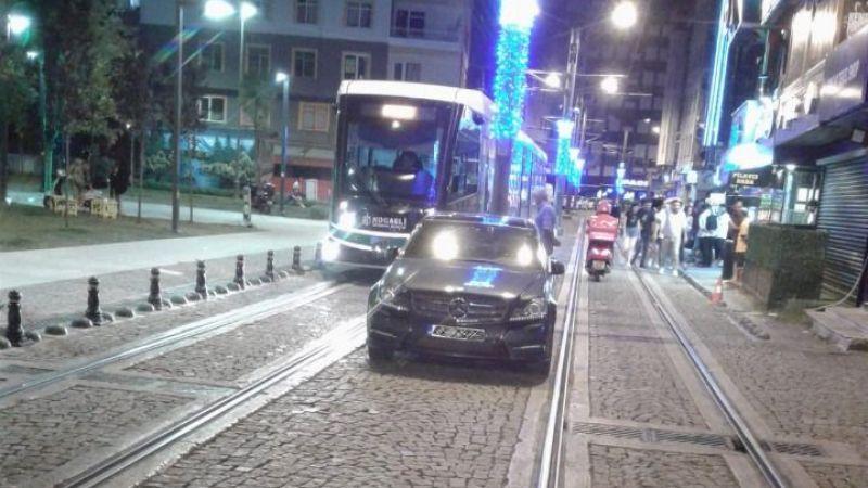 Tramvay yolunu işgal edenler cezadan kurtulamadı