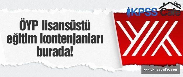 ÖYP 2015 BAHAR LİSANSÜSTÜ EĞİTİM KONTENJANLARI