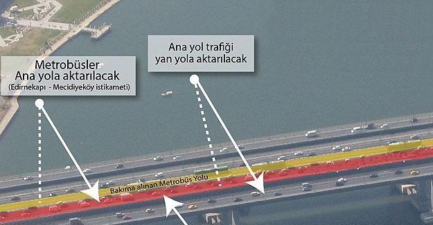 Haliç Köprüsü metrobüs yolunda bakım