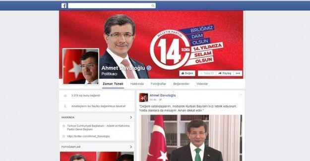 Başbakan Davutoğlu Facebook'ta
