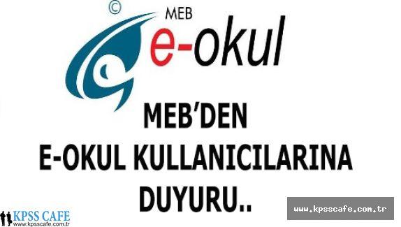 MEB'den E-Okul Kullanıcılarına Duyuru