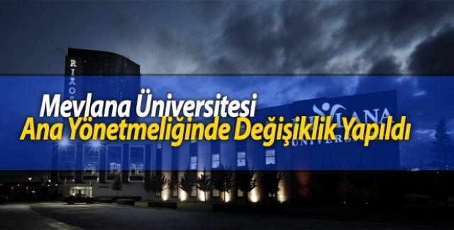 Mevlana Üniversitesi Ana Yönetmeliğinde Değişiklik Yapıldı