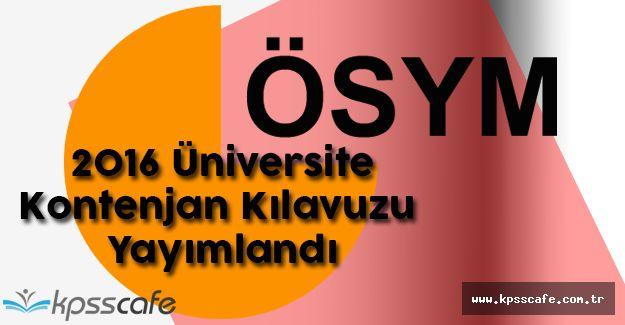 2016 Üniversite Kontenjan Kılavuzu Yayımlandı