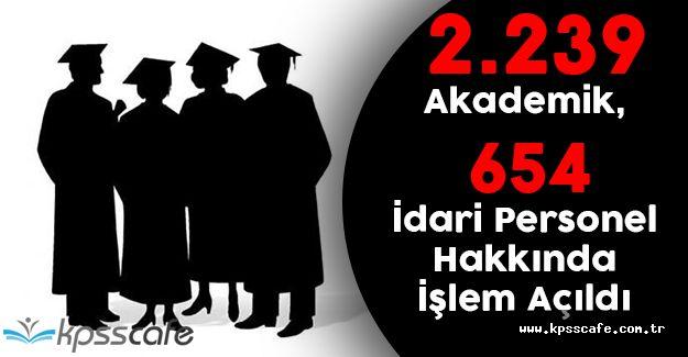 Tüm Üniversitelerde 2.239 Akademik 654 İdari Personel Hakkında İşlem Açıldı