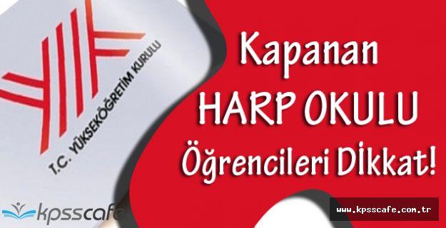 Yükseköğretim Kurulu'ndan Harp Okulları Duyurusu!