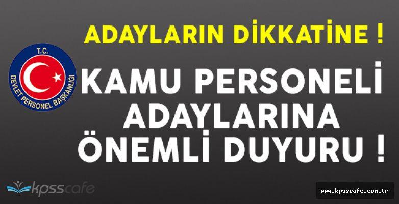 Devlet Personel Başkanlığından (DPB) Kamu Personeli Adaylarına Önemli Duyuru!