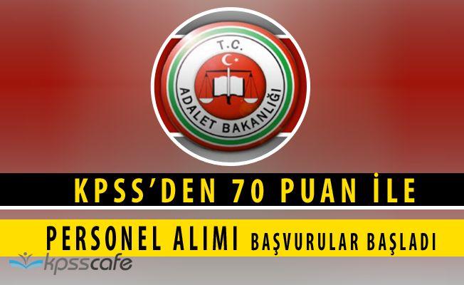 Adalet Bakanlığı KPSS'den 70 Puan ile 810 Personel Alımı Başvuruları Başladı