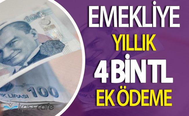 Emekliye Yıllık 4 Bin Lira Ek Ödeme