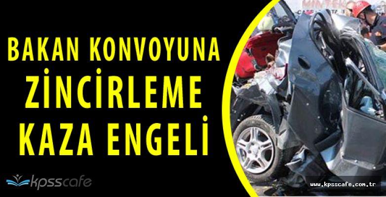 Gıda Bakanı Konvoyunda Büyük Kaza! 6 Araç Birbirine Girdi Yaralılar Var