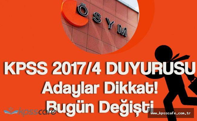ÖSYM'den Son Dakika Duyurusu! KPSS 2017/4 Tercih Yapacak Adaylar Dikkat!