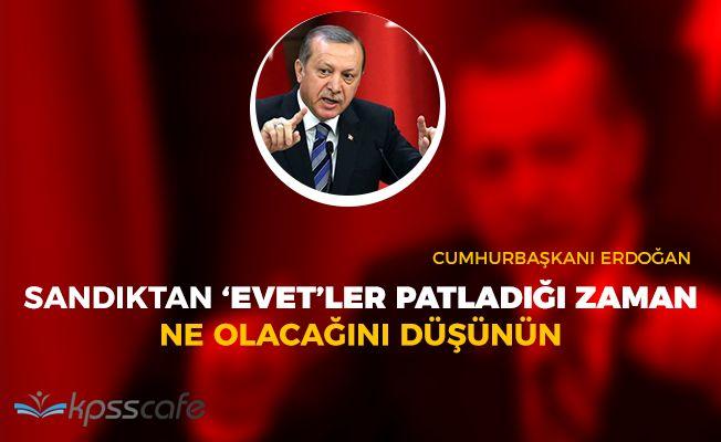 """Cumhurbaşkanı Erdoğan: """"Sandıktan 'Evet' patladığı zaman ne olacağını düşünün"""""""