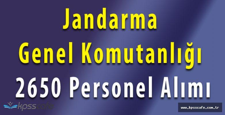 Jandarma Genel Komutanlığı 2650 Personel Alımı Yapacak (Başvurular Sürüyor)