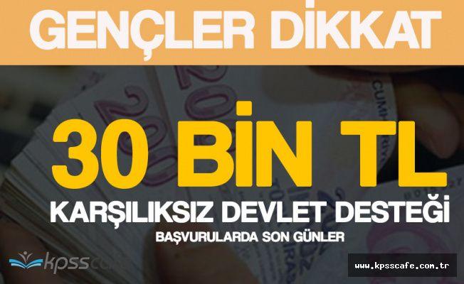Gençlere 30 Bin TL Karşılıksız Devlet Desteği Başvurusu için Son Günler!