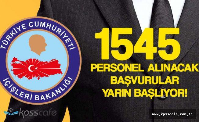 İçişleri Bakanlığı 1545 Büro Personeli Alacak! (KPSS 60 Puan Şartı , Başvurular Yarın Başlıyor)