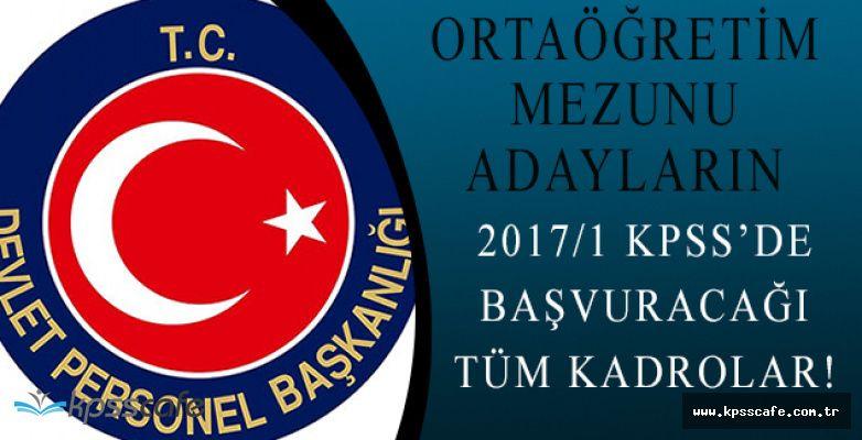 Ortaöğretim Mezunu Adayların 2001 Nitelik Kodu İle 2017 KPSS/1 Başvuracağı Bütün Kadrolar!