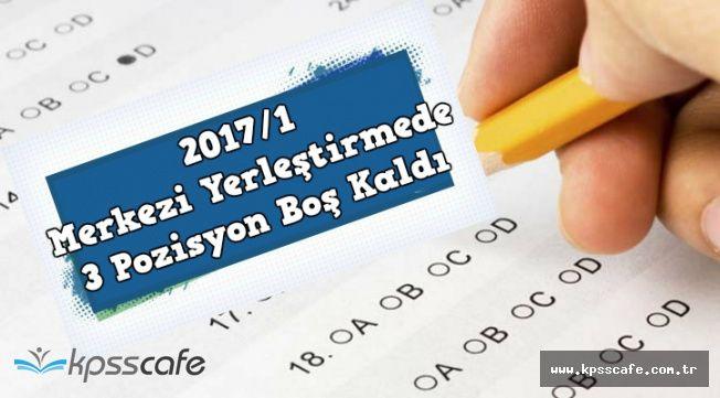 KPSS 2017/1'de 3 Kadro Boşta Kaldı (Boş Pozisyon ve Kadronun Bulunduğu İl)