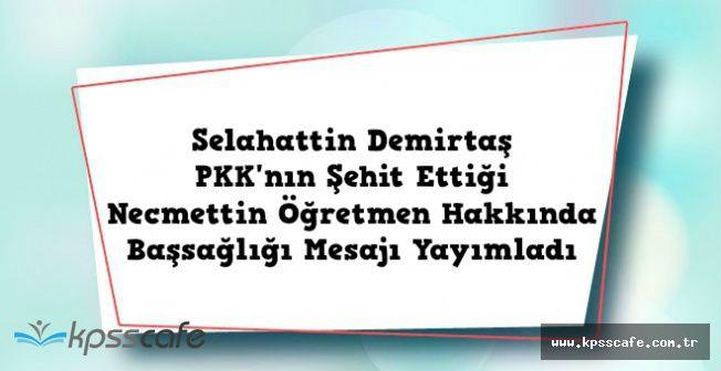 Selahattin Demirtaş'tan PKK'nın Şehit Ettiği Necmettin Öğretmen İçin Başsağlığı Mesajı