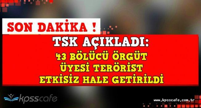 TSK'dan Son Dakika Açıklaması: 43 Terörist Etkisiz Hale Getirildi