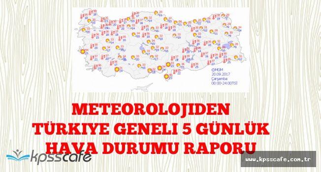 Meteorolojiden Yüksek Sıcaklık Açıklaması (20-21-22-23-24 Eylül Haritalı Hava Durumu)