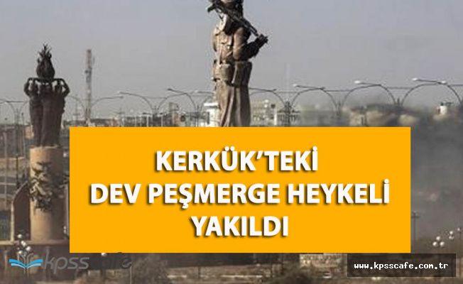 Irak'ta Dev Peşmerge Heykelini Ateşe Verdiler!