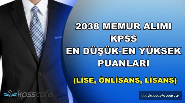 2038 Memur Alımı KPSS Taban-Tavan Puanları (Lise, Önlisans ve Lisans Mezunu Memur Alımı)