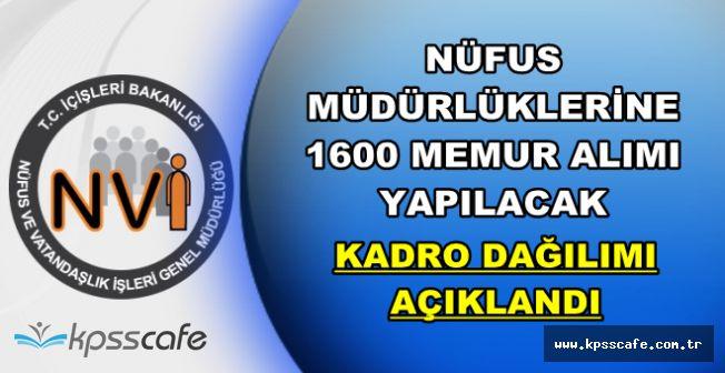 Nüfus Müdürlüklerine 1600 Memur Alımı İçin Kadro Dağılımı