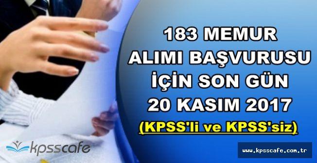 KPSS'li ve KPSS'siz 183 Memur Alımı Başvurusu İçin Son Gün: 20 Kasım 2017