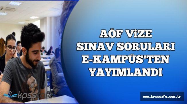 AÖF Güz Dönemi Vize Sınav Soruları E Kampüs'ten Yayımlandı