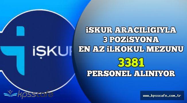İŞKUR Üzerinden 3 Pozisyona En Az İlkokul Mezunu 3381 Personel Alınıyor (Başvurular İnternetten)