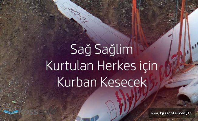 Pegasus Hava Yolları Trabzonda Pistten Çıkan Uçaktaki Herkes için Kurban Kesecek