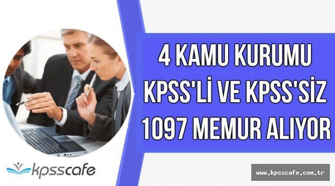 4 Kamu Kurumu KPSS'li ve KPSS'siz 1097 Memur Personel Alıyor