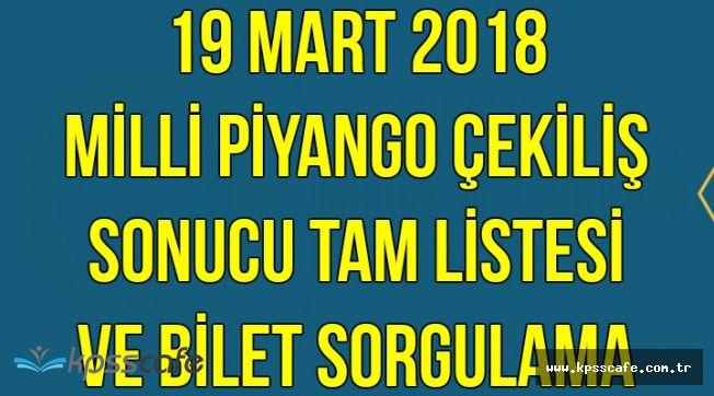 Milli Piyango Sorgulama Ekranı 19 Mart 2018 (MPİ Çekilişi Bilet Sorgulama-Tam Liste)