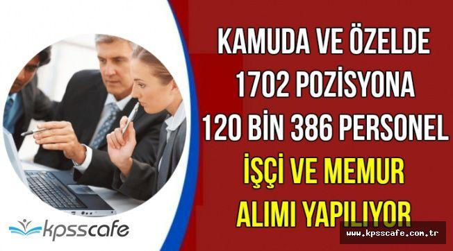 Kamuya ve Özele 120 Bin 386 Memur, Personel ve İşçi Alımı (İŞKUR İlanları)