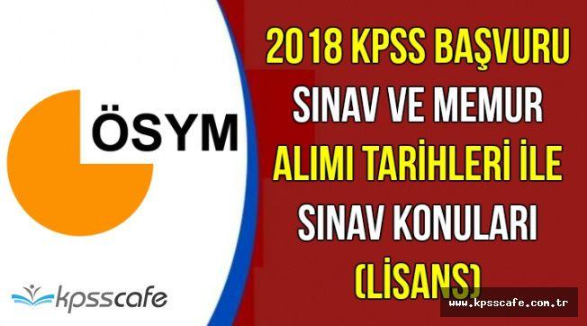 KPSS 2018 Başvuru-Sınav-Memur Alımı Tarihleri ile Sınav Konuları (Lisans)