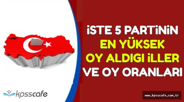 İşte Partilerin En Yüksek Oy Aldığı İller (AK Parti-CHP-MHP-İYİ Parti-HDP)