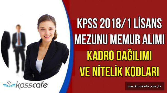 KPSS 2018/1 ile Lisans Mezunu Memur Alımı Kadro Dağılımı ve Nitelik Kodları