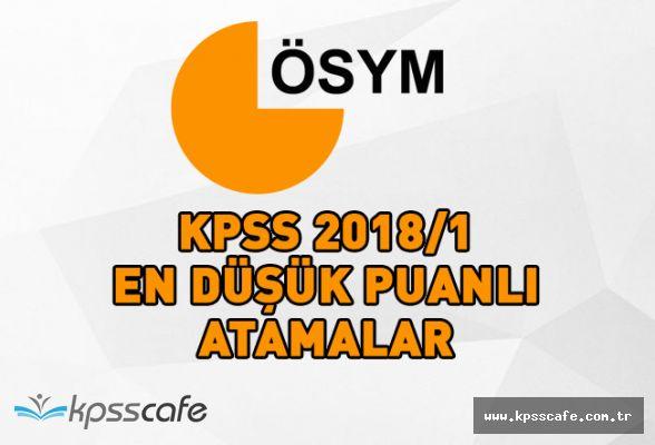 KPSS 2018/1 En Düşük Puanlı Atamalar