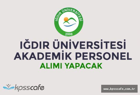 Iğdır Üniversitesi Akademik Personel Alım İlanı