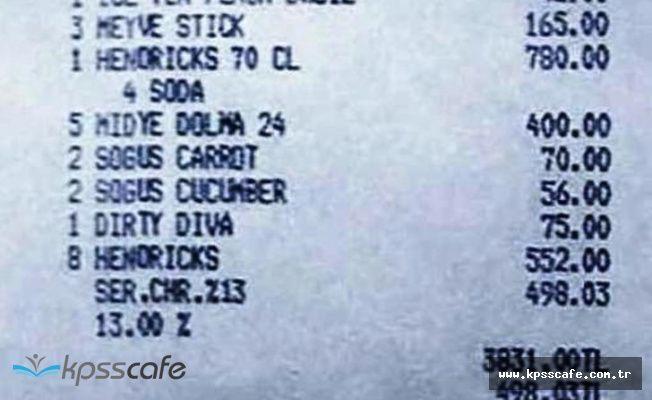 Hesap Şoku : 4 Bardak Çay 72, ayran 56 TL
